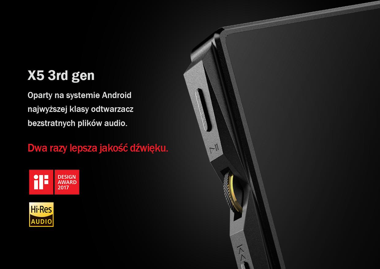 FiiO X5 3rd gen Oparty na systemie Android najwyższej klasy odtwarzacz bezstratnych plików audio. Dwa razy lepsza jakość dźwięku.