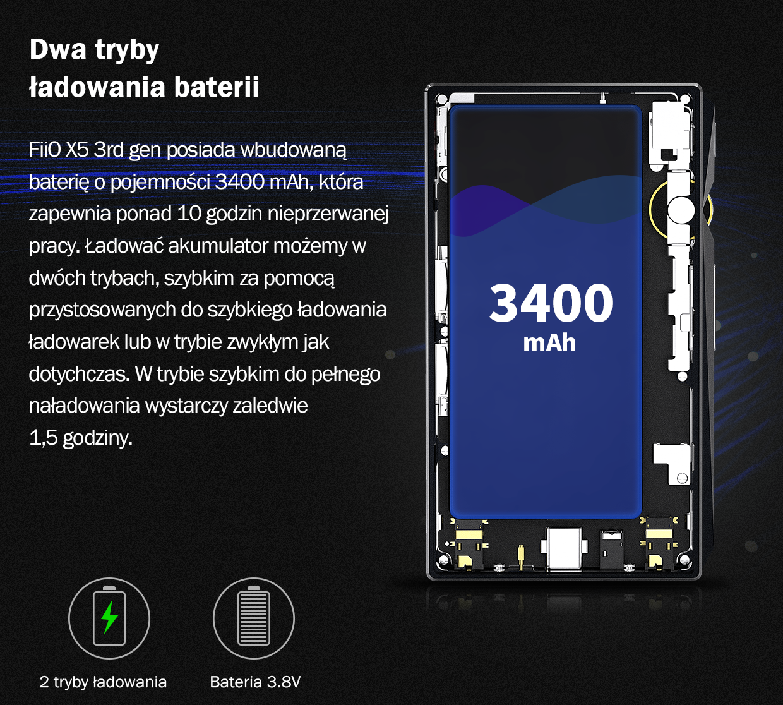 FiiO X5 3rd gen posiada wbudowaną baterie o pojemności 3400 mAh, który zapewnia ponad 10 godzin nieprzerwanej pracy. Ładować akumulator możemy w dwóch trybach, szybkim za pomocą przystosowanych do szybkiego ładowania ładowarek lub w trybie zwykłym jak dotychczas. W trybie szybkim wystarczy do pełnego naładowania zaledwie 1,5 godziny.