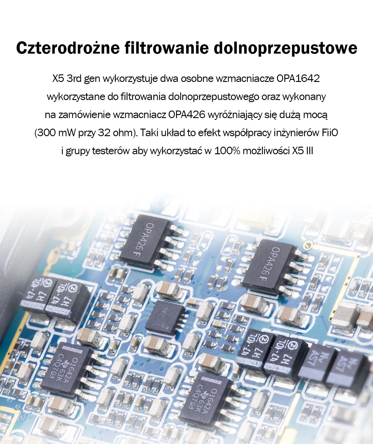 X5 3rd gen wykorzystuje dwa osobne wzmacniacze OPA1642 wykorzystane do filtrowania dolnoprzepustowego oraz wykonany na zamówienie wzmacniacz OPA426 wyróżniający się dużą mocą (300 mW przy 32 ohm). Taki układ to efekt współpracy inżynierów FiiO i grupy testerów aby wykorzystać w 100% możliwości X5 III