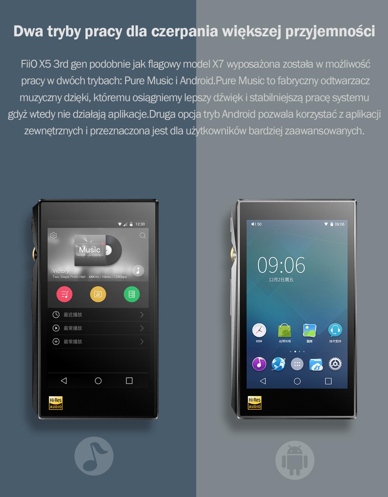 FiiO X5 3rd gen podobnie jak flagowy model X7 wyposażona została w możliwość pracy w dwóch trybach: Pure Music i Android. Pure Music to fabryczny odtwarzacz muzyczny dzięki, któremu osiągniemy lepszy dźwięk i stabilniejszą pracę systemu gdyż wtedy nie działają aplikacje. Druga opcja tryb Android pozwala korzystać z aplikacji zewnętrznych i przeznaczona jest dla użytkowników bardziej zaawansowanych.